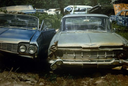 Two Chevies in a Wreck Yard