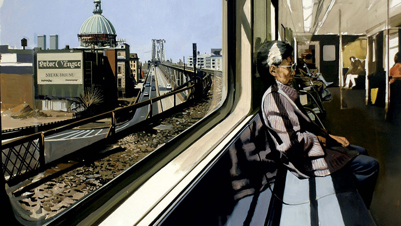 M Train on Route to Manhattan Approaches the Williamsburg Bridge, Richard Estes