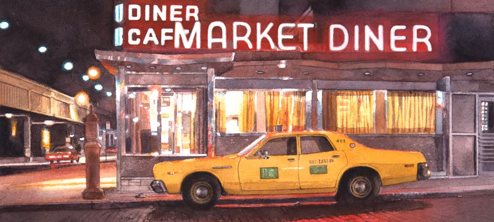 Market Diner at Night - John Baeder