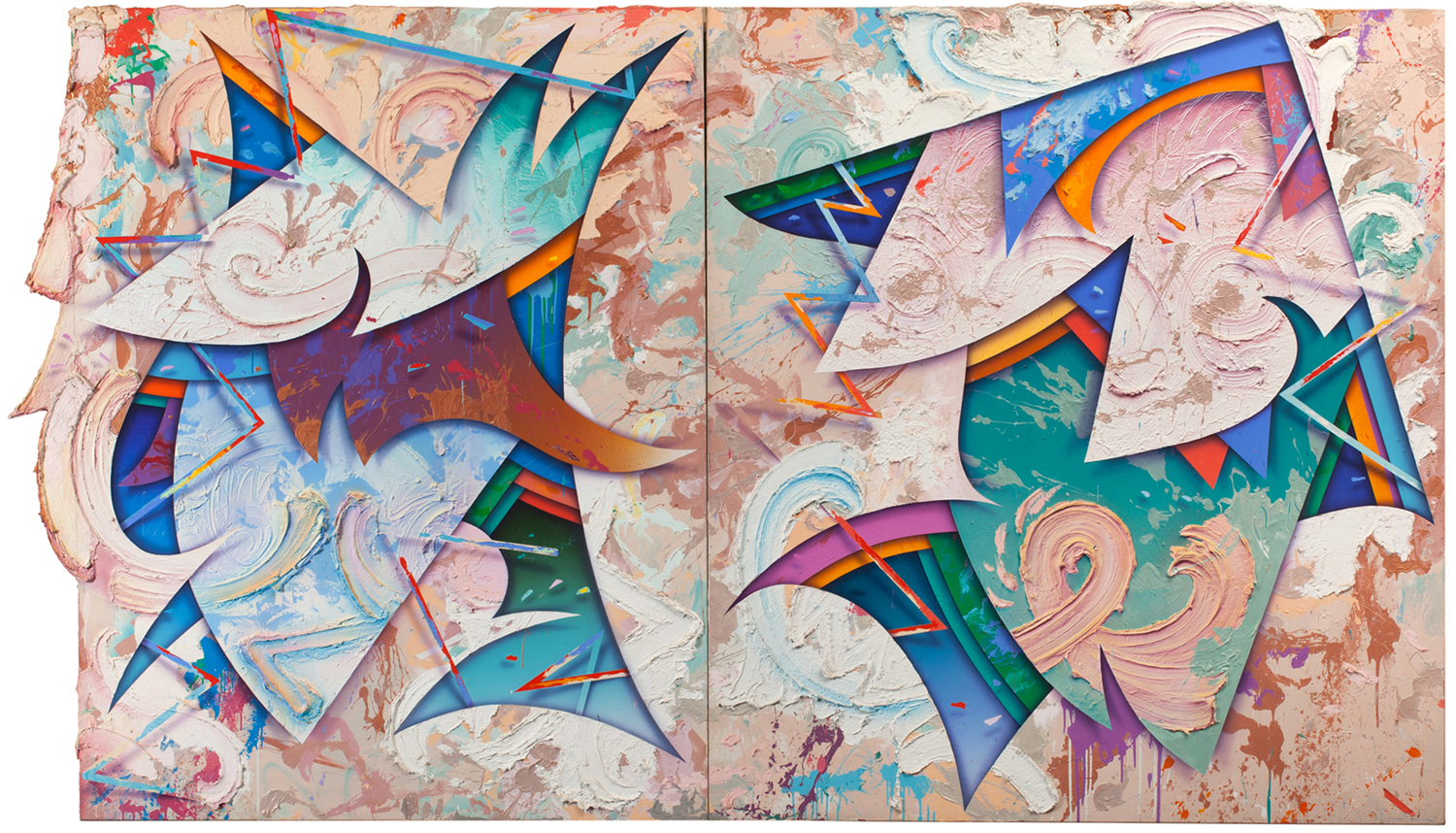 Holy Rollers I-II, 1982, acrylic on canvas, 90 x 163 inches