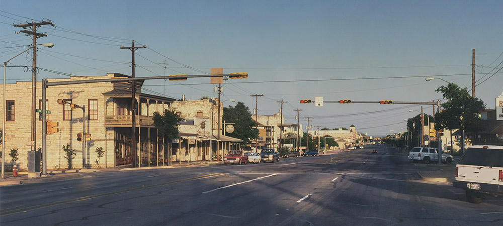 Painting of Orange Street and Main in Fredericksburg, TX